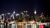 Time lapse of NYC skyline with light trails video