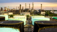 Time Lapse of Oil Refinery ,Day to Night video