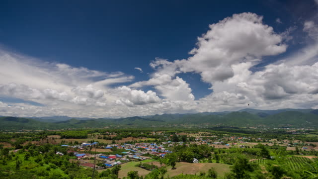 Time Lapse of Pai viewpoint and blue sky with cloudy movement , Pai Thailand video