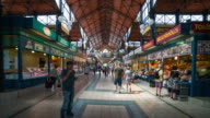Time Lapse of people walking at Great Market Hall, Budapest video