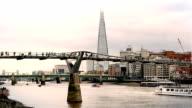 Time lapse of people walking on Millennium Bridge, London video
