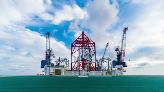 time lapse of petroleum offshore drilling rig video