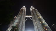 Time lapse of Petronas Twin Towers at Night video