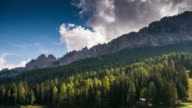 Time Lapse of Pine forest and mountain in Misurina lake dolomites Alpine Alps Italy video