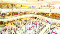 Time lapse of poeple in shopping mall,High angle view video