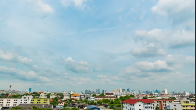 Time lapse of rain clouds with the last light of the day over Bangkok sky video