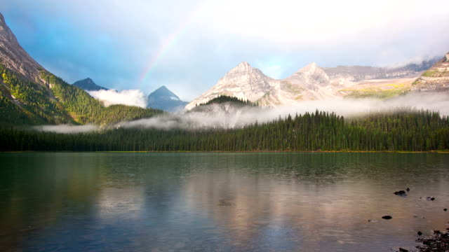 Time lapse of rainbow over mountain lake video