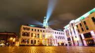 Time lapse of Riga City council during a light festival video