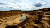 Time lapse of Sam Pan Bok (Grand Canyon of Thailand), Mekhong river, Ubon Ratchathani, Thailand (pan shot) video