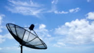 HD time lapse of satellite dish with clouds move video