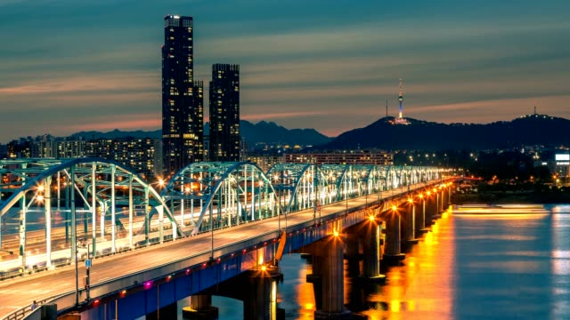 4K Time lapse of Seoul City skyline at Dongjak Bridge and Han river in Seoul, South Korea. video