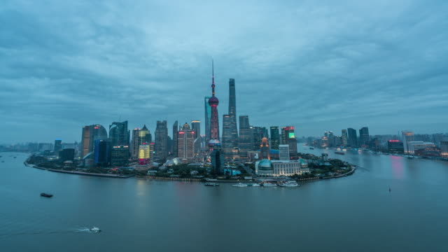 Time lapse of Shanghai day to night transition video