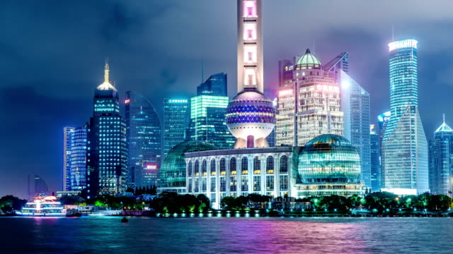 Time lapse of Shanghai Pudong viewed at night video