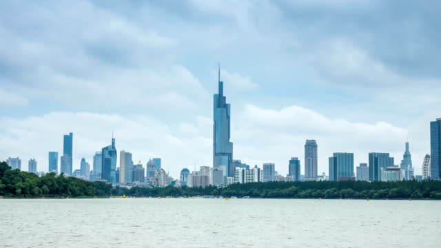 Time lapse of  skyline in nanjing city with xuanwu lake,china ,cloudy day video