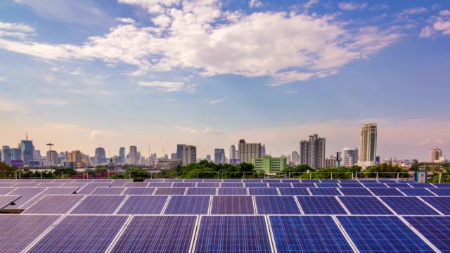 Time Lapse of Solar Farm in the city,Tilt up video