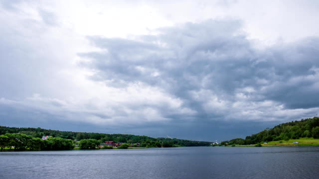 Time lapse of storm clouds moving fast video