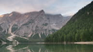 Time Lapse of Sunrise at lago di braies , south tyrol , dolomites , Italy video