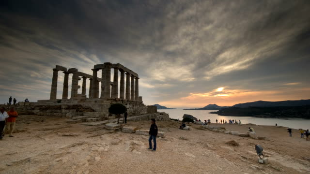 TIme Lapse of Sunset at Cape Sounion, Greece video