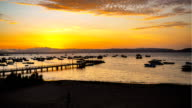 Time lapse of sunset at small bay in the Paracas National Park video