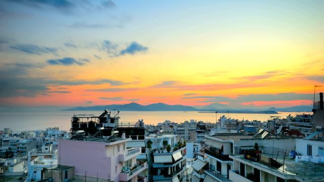 Time Lapse of Sunset in Piraeus video