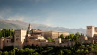 Time lapse of the alhambra palace in granada, spain video