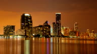 Time lapse of the Miami skyline at dusk video