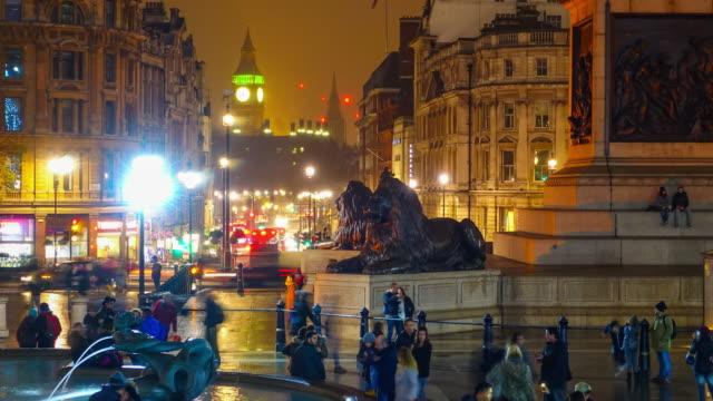 Time lapse of tourist at Trafalgar Square video