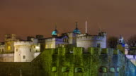 Time lapse of Tower of London at night video