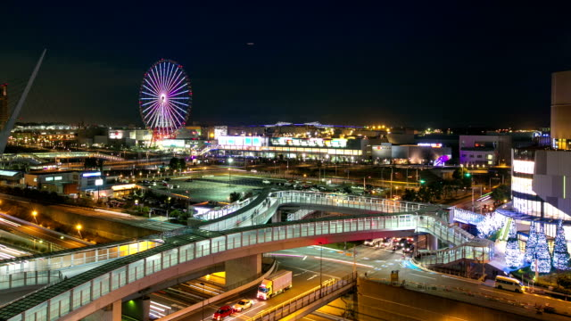 Time lapse of traffic in odaiba tokyo japan video