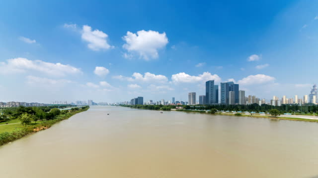 Time lapse of yangtze river skyline in nanjing city,china ,cloudy day video