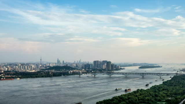 Time lapse of yangtze river skyline in nanjing city,china ,cloudy day,sunset video