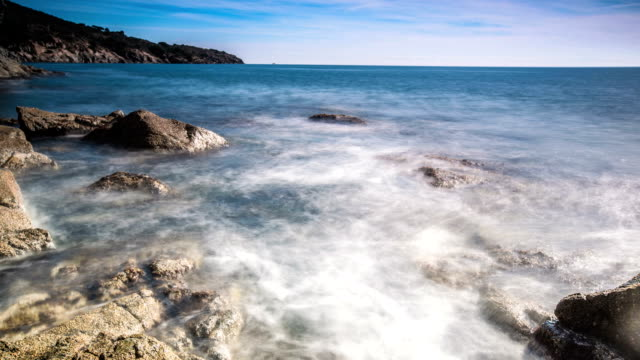 Time lapse on a rocky coast at Costa Brava video