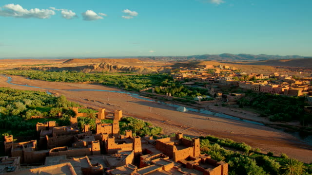 Time lapse over desert scenic city Ait-Ben-Haddou Castle in Morocco video