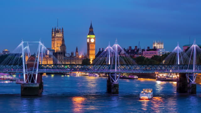 Time lapse over river Thames with Big Ben in the background video