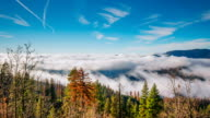 Time Lapse - Panoramic view misty morning fog in mountains at Yosemite video