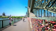 4K Time Lapse : Pedestrian crowded at Hohenzollern Bridge Cologne Cathedral Germany video