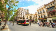 4K Time Lapse : Pedestrians at Seville downtown Square video