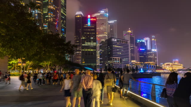 4K Time Lapse : pedestrians in singapore city at night video