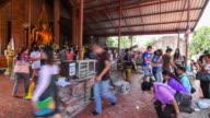 4K Time Lapse: People Faith Prayer To Buddha In Wat Yai Chai Mongkhon Ayuthaya video