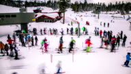 Time Lapse - People in Queue for Lift in Ski Resort video