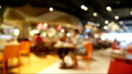 Time lapse people in restaurant blur background with bokeh video