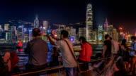 Time Lapse Peoples near Victoria Harbour Bay at Night, Hong Kong, Tsim Sha Tsui video