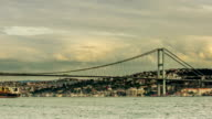 Time Lapse Photography clouds moving across the blue sky with Bosphorus Bridge video