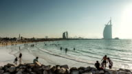 Time Lapse Photography crowd in Jumeirah Beach video
