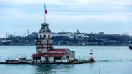 Time Lapse Photography, Maiden Tower at cloudy day video