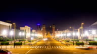 Time lapse : Night view of Plaza de Espana with Venetian towers. Barcelona video