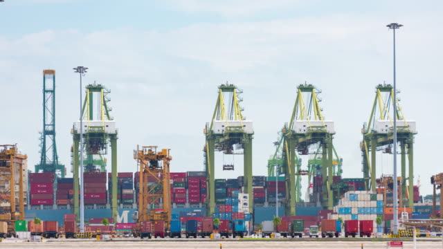 4K Time Lapse : Port Loading of Operation in railroad yard video