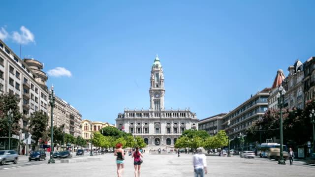 Time lapse : Porto town hall on Avenida Dos Aliados video
