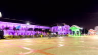 Time Lapse, Provincial Hall, Nonthaburi old wooden decorated with colored lights at night, which is a major tourist destination located at Talad Khwan Muang, Nonthaburi, Thailand. video