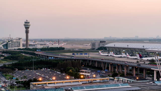 Time Lapse Pudong international airport/shanghai,china video